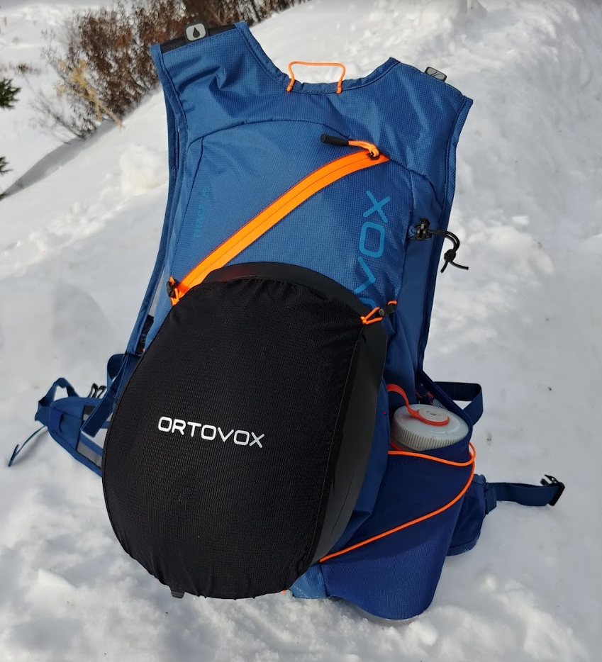 ortovox trace 25 ski touring pack with helmet and water bottle